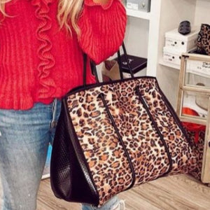 Large Neoprene Tote Bag and Wristlet Black Leopard - Leaside