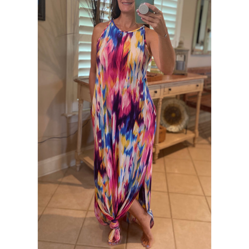 """All the Colors of the Rainbow"" Vibrant Tie Dye Scoop Neck Sleeveless Tank Side Pockets Long Maxi Multi S/M/L"