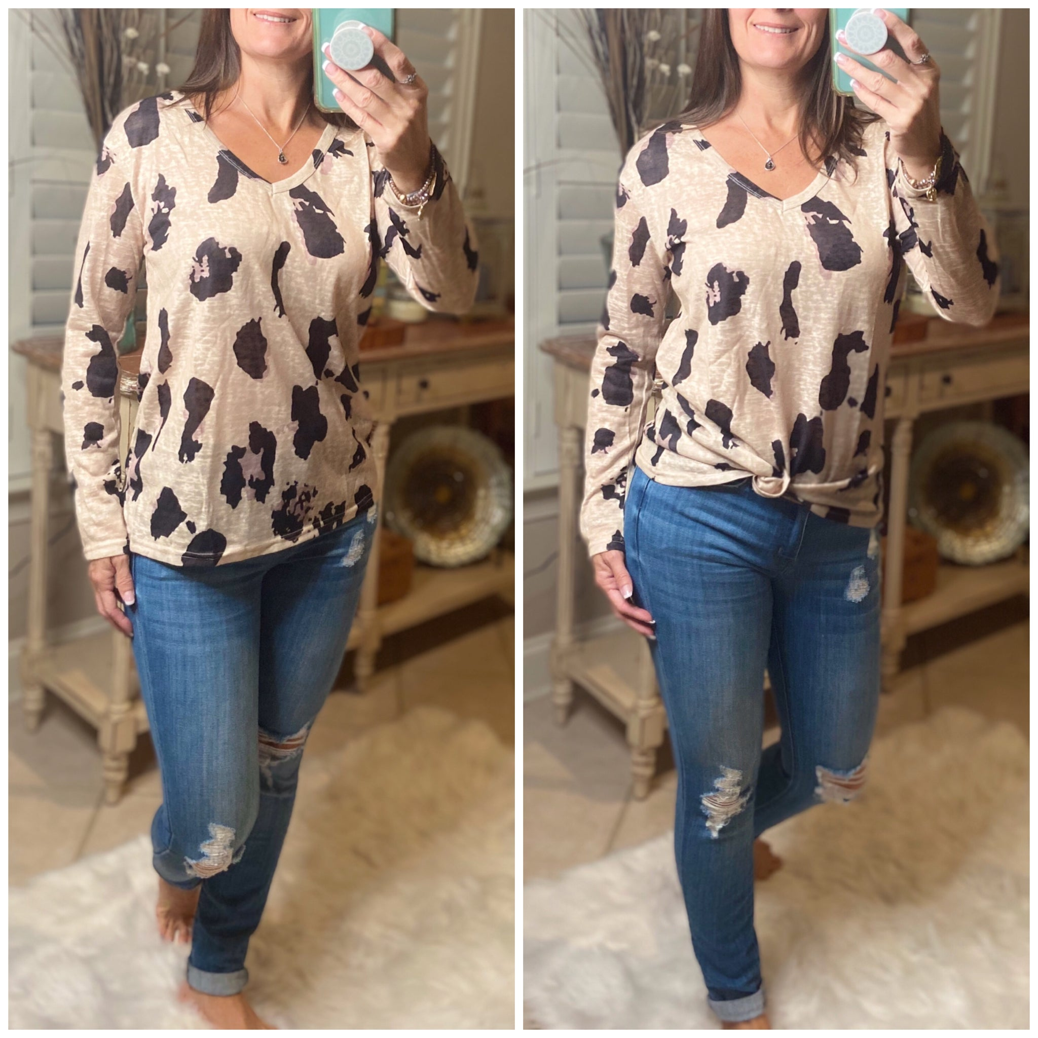 """Wild Child"" V-Neck Floaty Animal Print Leopard Long Sleeve Taupe S/M/L/XL/2X"