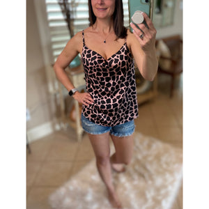 """I Can See For Miles"" Drape Cowl Neck Sleeveless Cami Giraffe Animal Top Black Pink S/M/L"