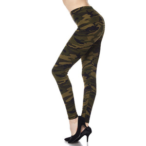 Camouflage Army Military Leggings Stretch Lounge Pants Juniors Green Brown OS