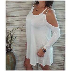 Sexy Double Strap Cold Shoulder Dolman Sleeve Tunic Top Dress Ivory S/M/L