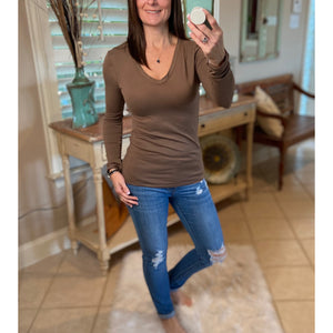 Very Sexy Slimming V-Neck Low Cut L/S Tissue Basic Baby Shirt Top Mocha S/M/L