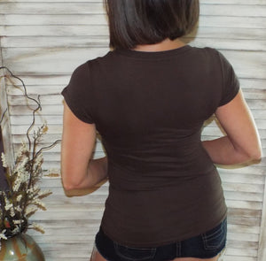 Very Sexy Low Cut V-Neck Cleavage Baby Slimming Basic Tee Shirt Brown 1X/2X/3X