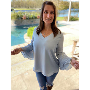 """Full of Surprises"" V-Neck Flared Bell Layered Sleeve Dressy Top Blue S/M/L/XL"