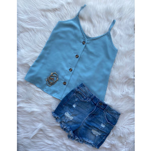 """Simply Perfect"" V-Neck Button Up Floaty Spaghetti Strap Summer Tank Top Blue S/M/L/XL"