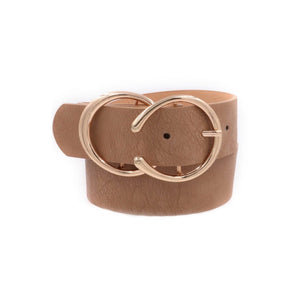 Double C Metal Buckle Faux Leather Belt Taupe Gold