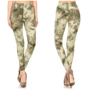 Tie Dye Fitted High Waist Leggings Stretch Lounge Pants Green OS