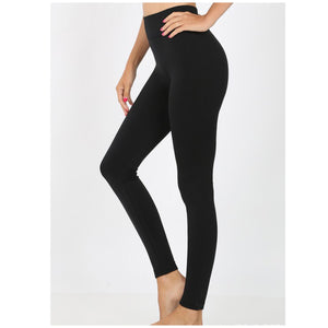 """Cozy Days"" Thick Fleece Ribbed Waistband Leggings Stretch Yoga Lounge Pants Black S/M L/XL"