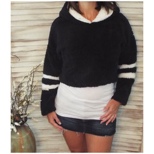 Sporty Sherpa Fleece Stripes Sleeves L/S Plush Hoodie Cropped Jacket Black S/M/L