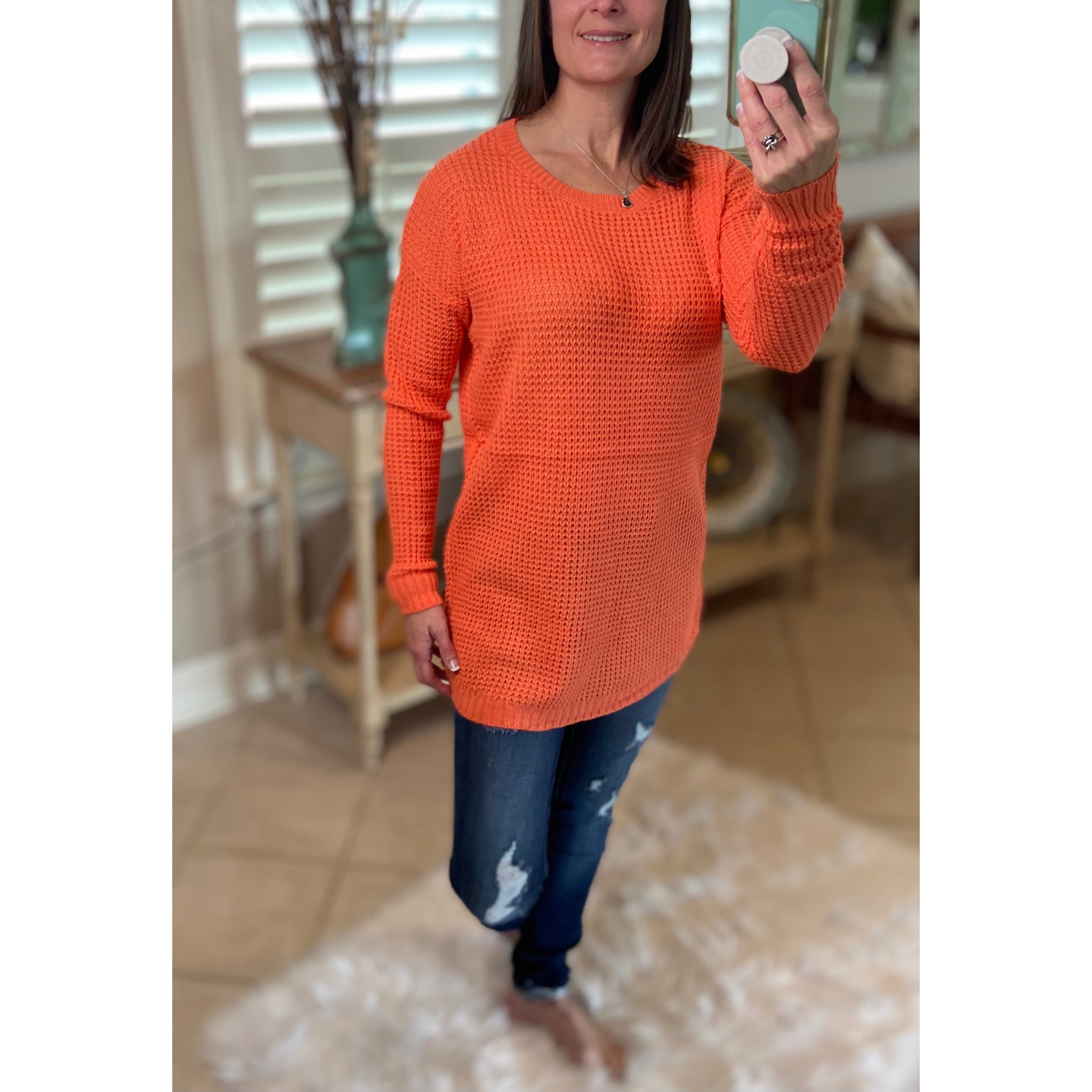 """Undone"" Waffle Hi-Low Rounded Hem Long Sleeve Round Neck Tunic Sweater Coral S/M/L/XL"