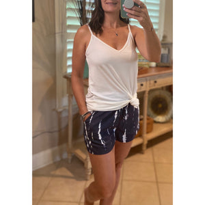 Tie Dye Elastic Drawstring Pocket Dressy Shorts Navy S/M/L/XL