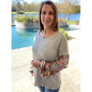 Woven Waffle Bishop Bubble Floral Contrast Long Sleeve Top Gray S/M/L