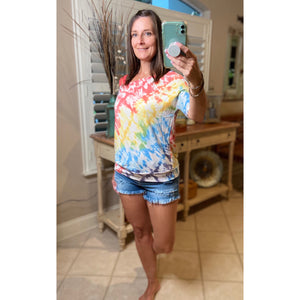 """Double Up"" Multi Tie Dye Off Strappy Cold Shoulder Sleeve Banded Top Bright Colors S/M/L/XL"
