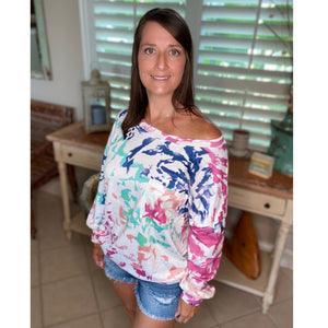 """Wild About You"" Multi Tie Dye Wide Rounded Neck Off Shoulder Banded Long Sleeve Top Rose S/M/L/1X/2X"