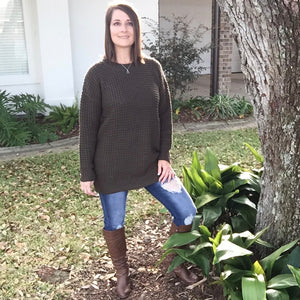 Oversized Waffle Round Neck Tunic Heavy Sweater Long Sleeve Top Olive S/M/L/XL