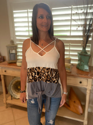 Sexy V-Neck Floaty Self Tie Animal Print Color Block Summer Tank White