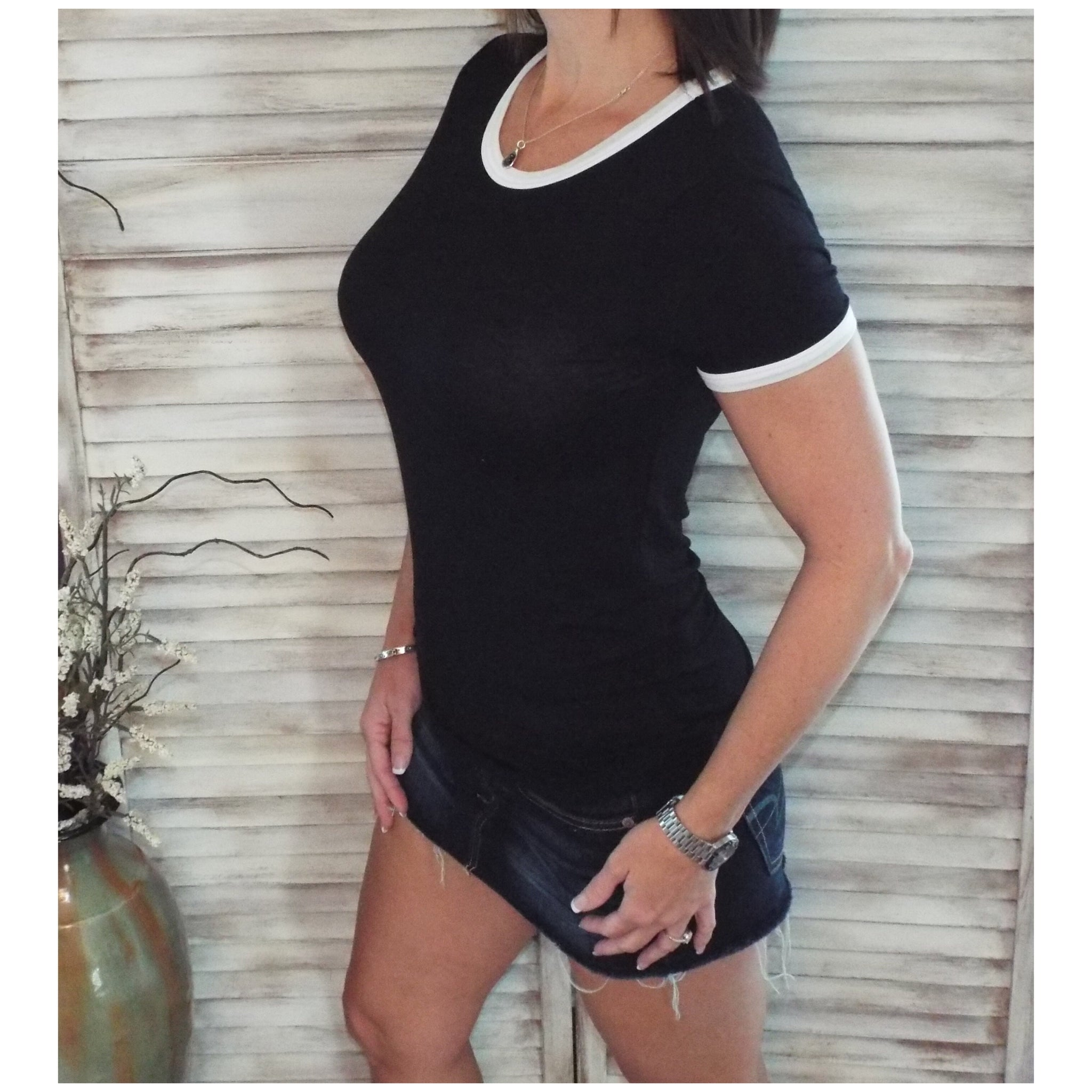 Very Sexy Crew Neck Baby Slimming Soft Top Tee Black Ivory Contrast Trim S/M/L