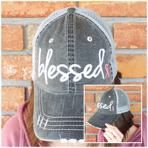 """Blessed"" Pink Cancer Ribbon Distressed Embroidered Trucker Hat Mess Back Dark Gray"