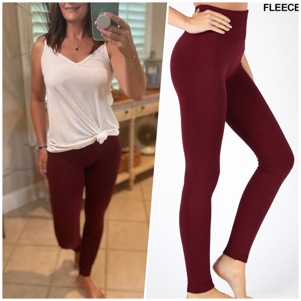 """Cozy Days"" Thick Fleece Ribbed Waistband Leggings Stretch Yoga Lounge Pants Burgundy S/M L/XL"