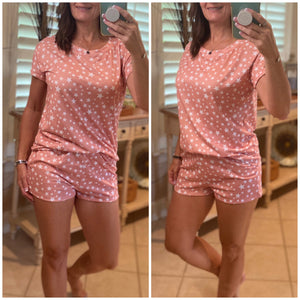 """Starry Starry Night"" Star Print Top & Bottom PJ Pajama Lounge Set Pink S/M/L/XL"