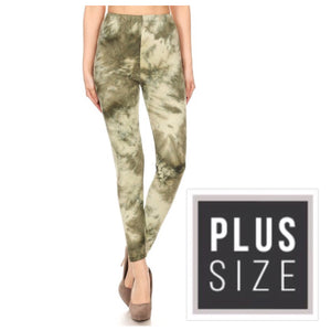 Tie Dye Fitted High Waist Leggings Stretch Lounge Pants Green Plus OS