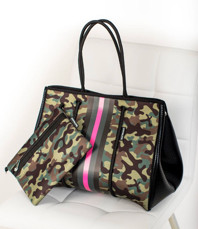 Large Neoprene Tote Bag and Wristlet Camouflage Green - Pink Army