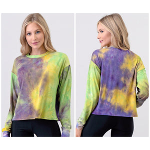 Tie Dye Mardi Gras Semi Cropped Crew Neck Shirt Purple Green & Gold S/M/L