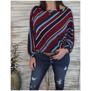 """Keep It Coming"" Multi Striped Wide Boat Neck Dolman Sleeve Tunic Top Shirt Burgundy S/M/L"