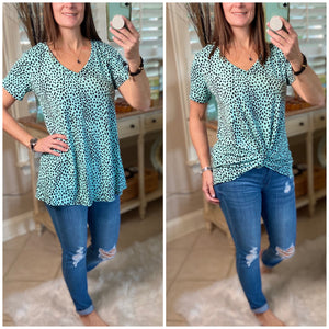 """Up Is The Only Way"" Leopard Short Sleeve V-Neck Bottom Floaty Top Mint Black S/M/L"