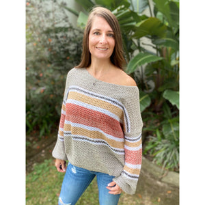 """My Happy Place"" Lightweight Ribbed Knit Sweater Striped Off Shoulder Long Sleeve S/M/L"