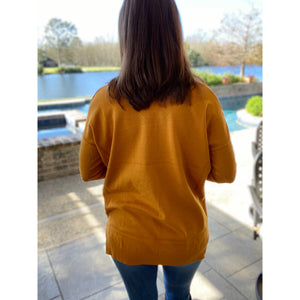 """When You're Next To Me"" Sweater V-Neck Split Side Banded Bottom Mustard S/M M/L"
