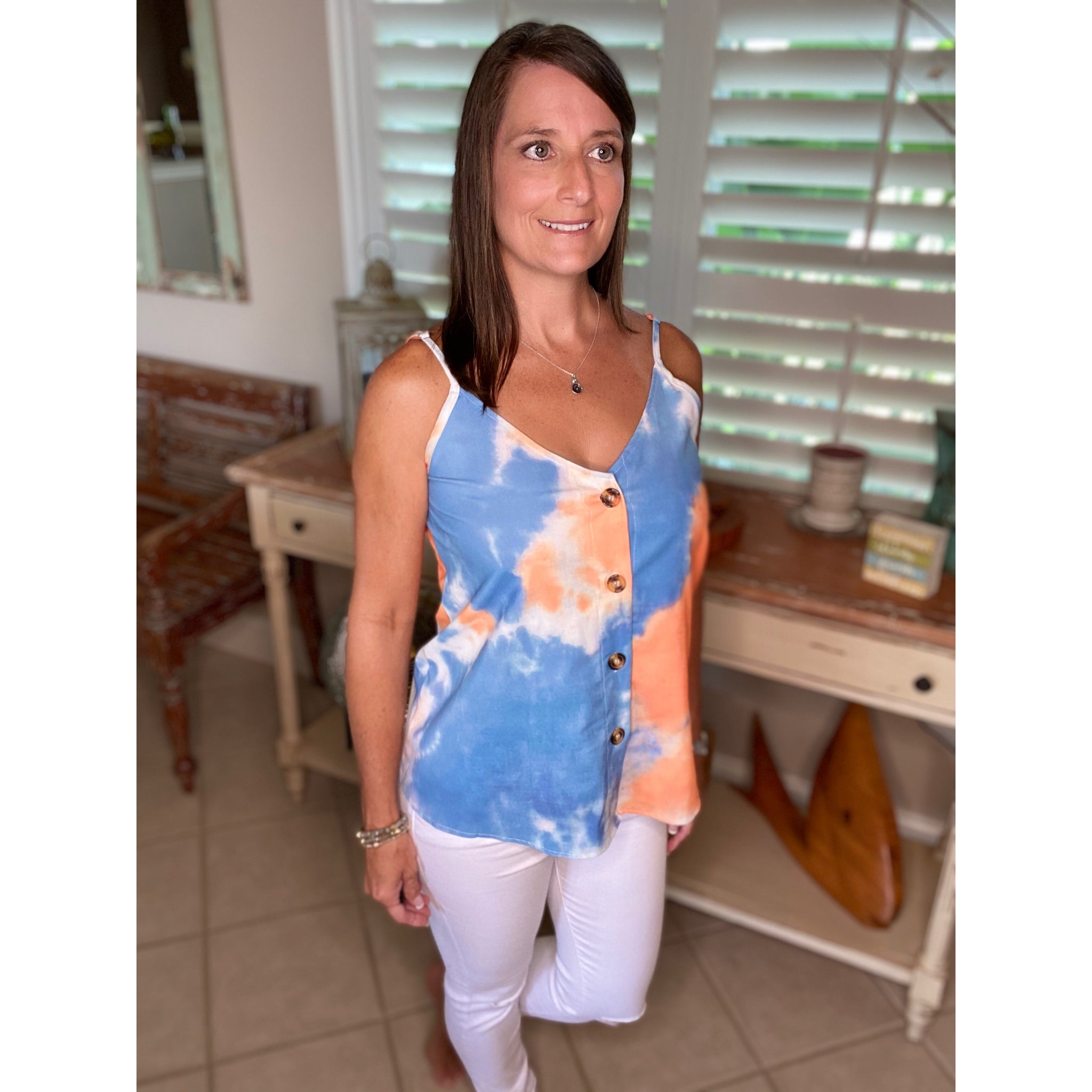 """Clouds in the Sky"" Tie Dye V-Neck Button Up Floaty Spaghetti Strap Summer Tank Top S/M/L/XL/XXL"