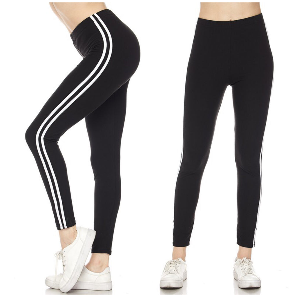 Sporty Striped Leggings Stretch Ankle Lounge Pants Black OS