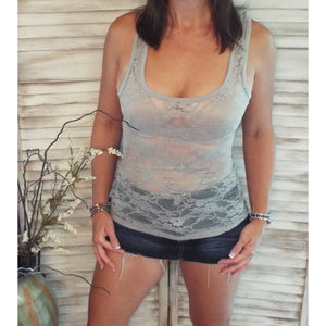 Very Sexy Racerback All Lace Sheer Low Cut Cleavage Cami Tank Top Lt Gray S/M/L