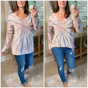 """Sunday Afternoon"" Tie Dye French Terry V-Neck Long Sleeve Light Pink S/M/L"