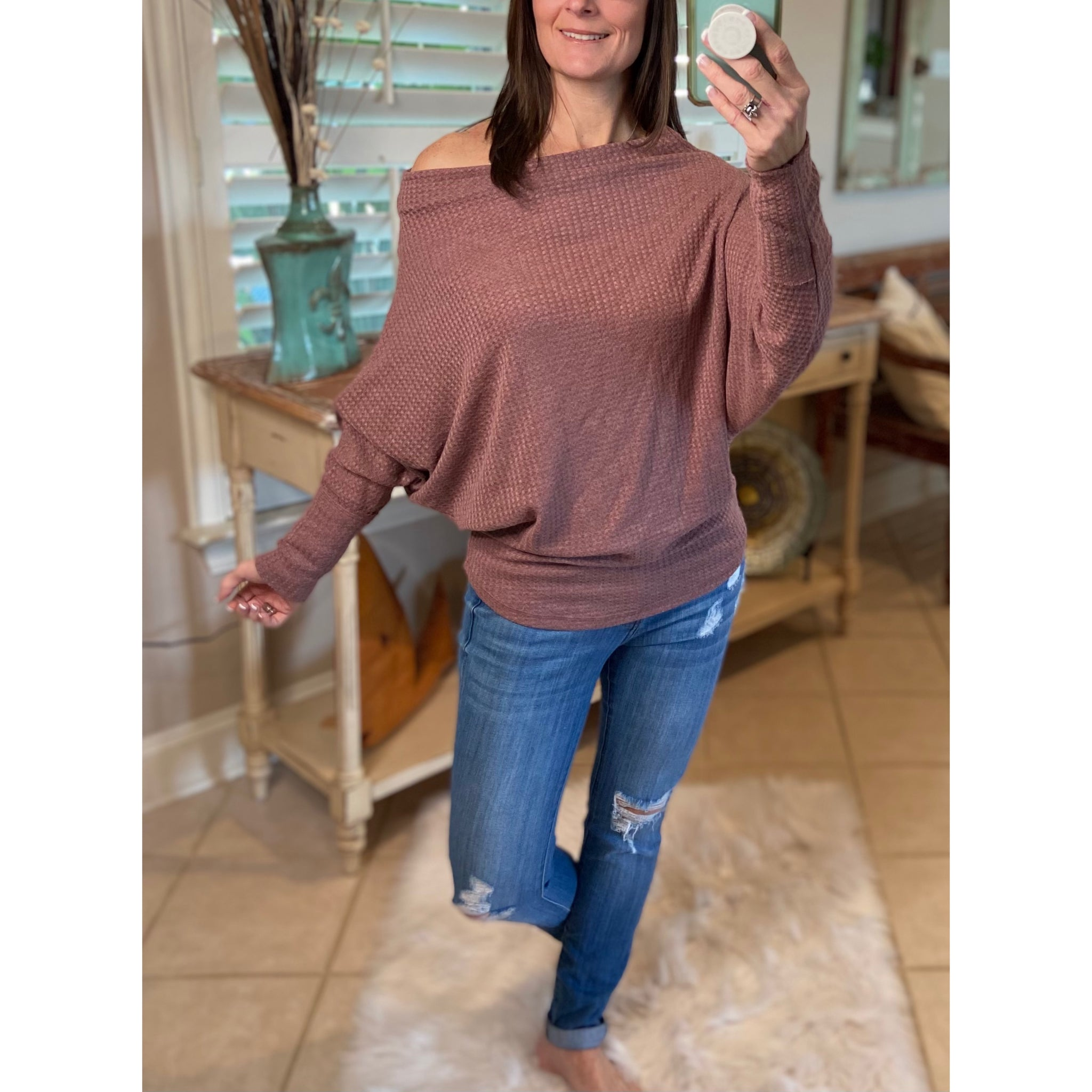 Off Shoulder Open Batwing Dolman Sleeve Top Mauve S/M/L