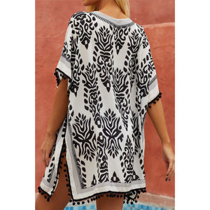 """Take Me There"" Chic Boho Floral Print Tassel Hem Beach Mini Cover Up Black White M/L"