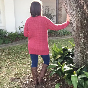 Oversized Waffle Round Neck Tunic Heavy Sweater Long Sleeve Top Pink S/M/L/XL