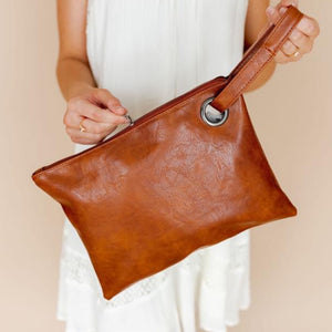 """I'm Going Places"" Trendy Clutch Large Wristlet Cognac Brown"