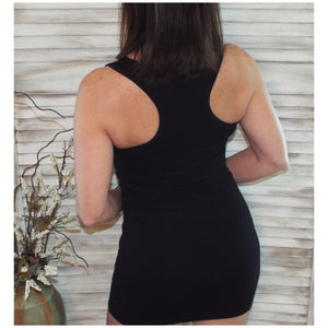 Sexy Scoop Neck Cleavage Bodycon Fitting Mini Summer Tank Dress Black 1X/2X/3X
