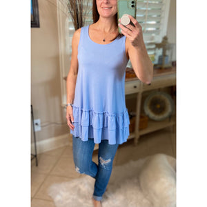 Ruffle Bottom Scoop Neck Sleeveless Floaty Tank Top Spring Blue S/M/L/XL