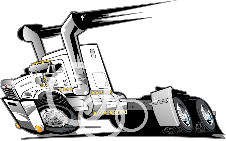 KW T800  Tandem with Bunk   Vector PDF Clip Art File