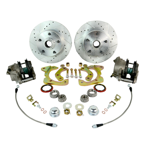 1955-1958 BEL AIR, IMPALA FRONT DISC BRAKE CONVERSION KIT DRILLED SLOTTED ROTORS - SAE-Speed