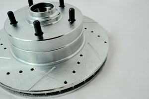 1965-1968 IMPALA FRONT DISC BRAKE CONVERSION KIT DRILLED SLOTTED ROTORS - Source Automotive Engineering