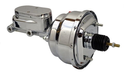 "8"" Street Rod Dual Power Brake Booster W/ Smooth Top Master Cylinder Chrome - SAE-Speed"