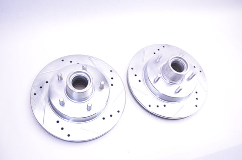 1980'S-90'S CHEVY CROSS DRILLED SLOTTED ROTORS 5547 *PAIR* - SAE-Speed