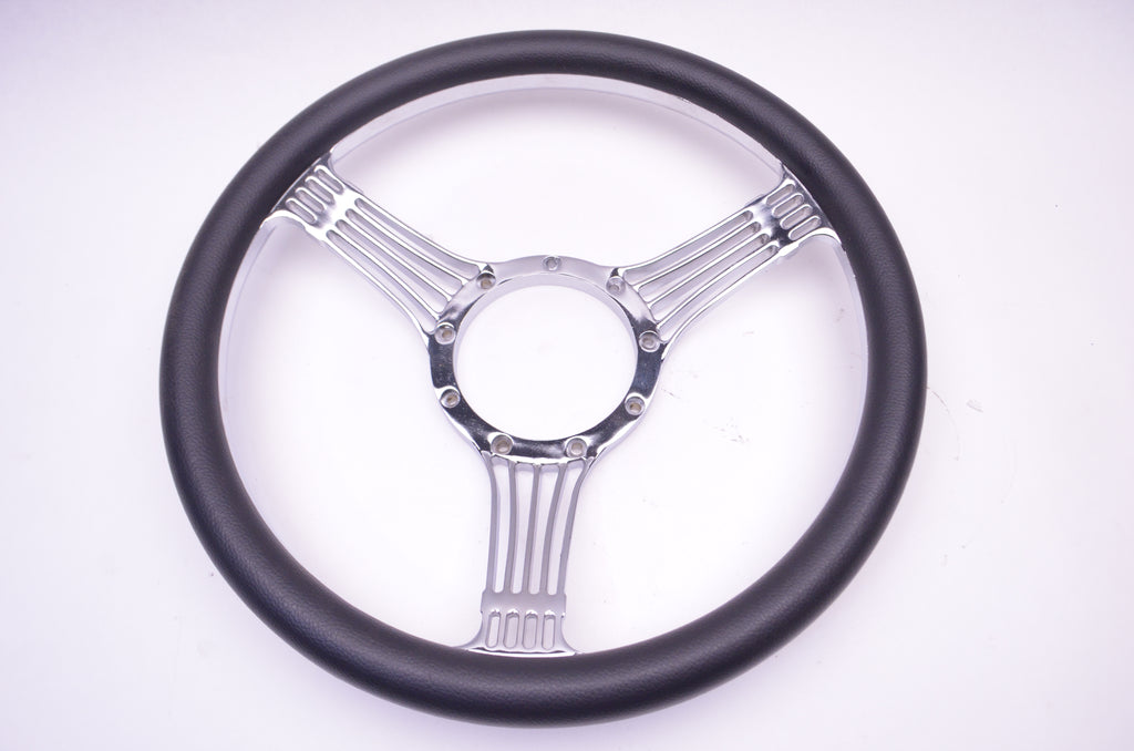 "14"" Chrome Billet Aluminum Banjo Steering Wheel Adapter Horn Button Black - Source Automotive Engineering"