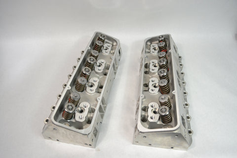 Pair ALUMINUM CYLINDER HEADS LOADED CHEVY SBC 350 200cc 64cc STRAIGHT SPARK PLUG - SAE-Speed