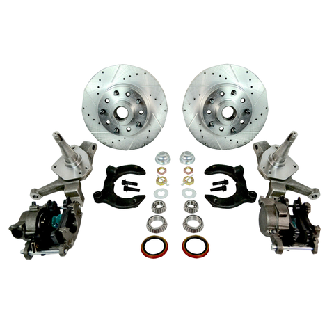 "MUSTANG II FRONT DRILLED SLOTTED DUAL BOLT PATTERN ROTORS DISC BRAKE KIT 2"" DROP - Source Automotive Engineering"